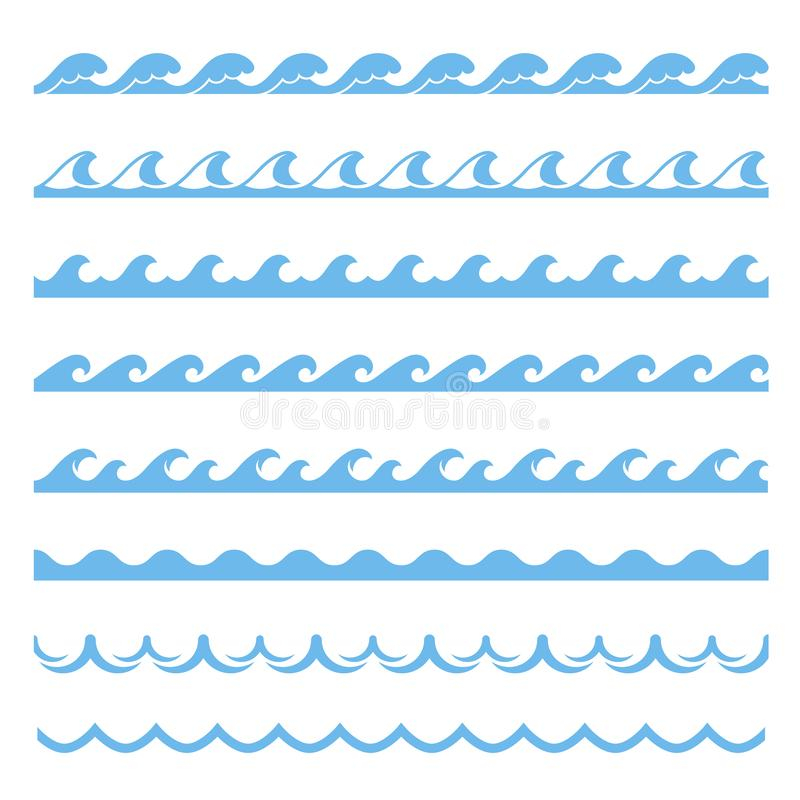 Teste padrão sem emenda do mar azul da onda, elemento marinho ilustração do vetor