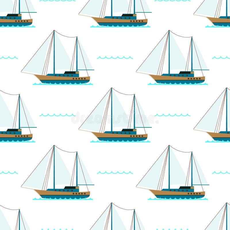 Teste padrão sem emenda do mar do barco do cruzador do navio ilustração royalty free