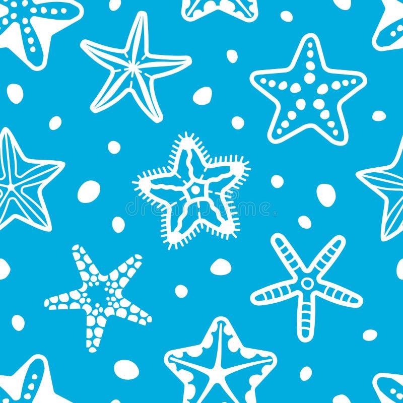 Teste padrão sem emenda do mar do vetor com estrela do mar ilustração royalty free