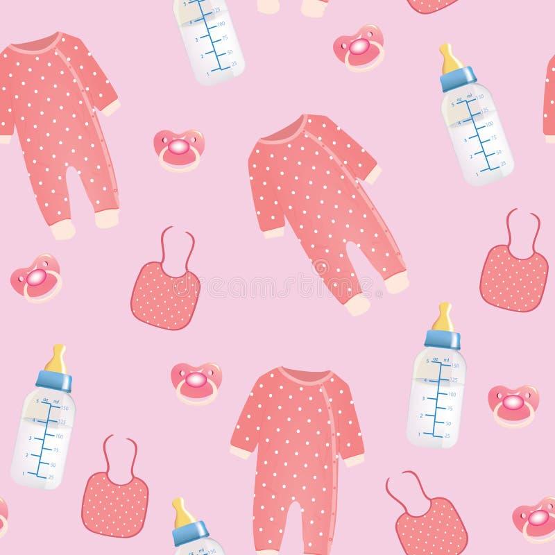 Teste padrão sem emenda do material do bebê ilustração do vetor