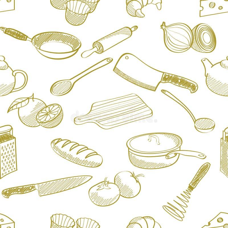 Teste padrão sem emenda do material de cozinha ilustração do vetor