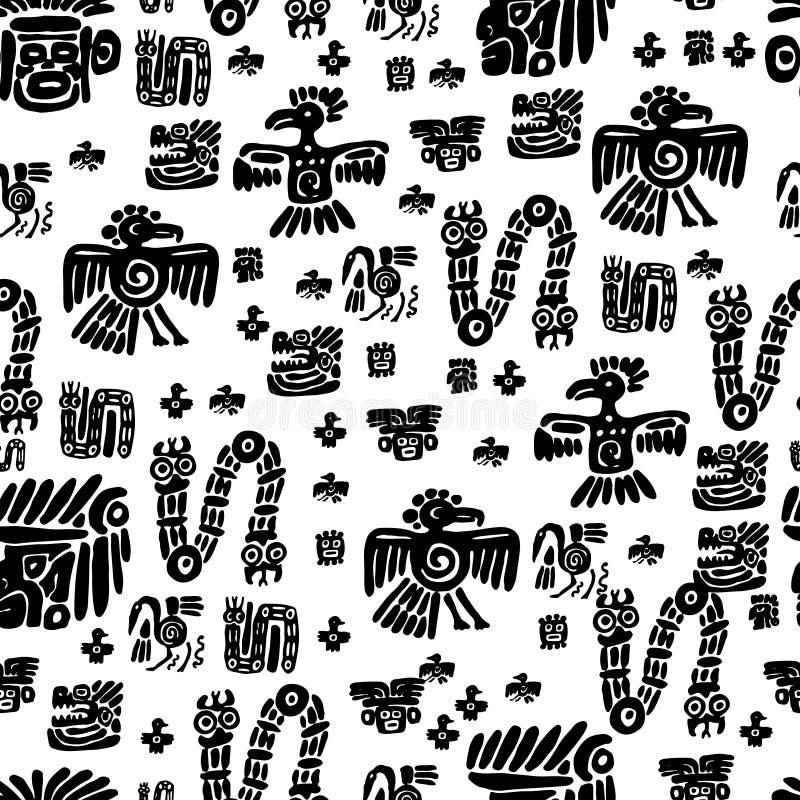Teste padrão sem emenda do maya Elementos étnicos preto e branco ilustração do vetor