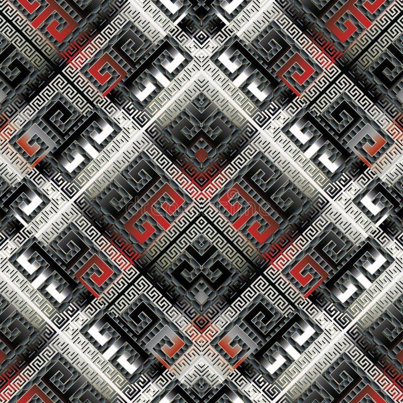 Teste padrão sem emenda do meandro geométrico moderno Abstrac do luxo do vetor ilustração royalty free