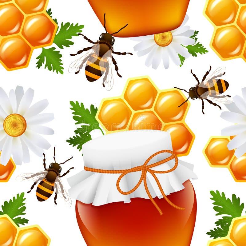 Teste padrão sem emenda do mel ilustração do vetor
