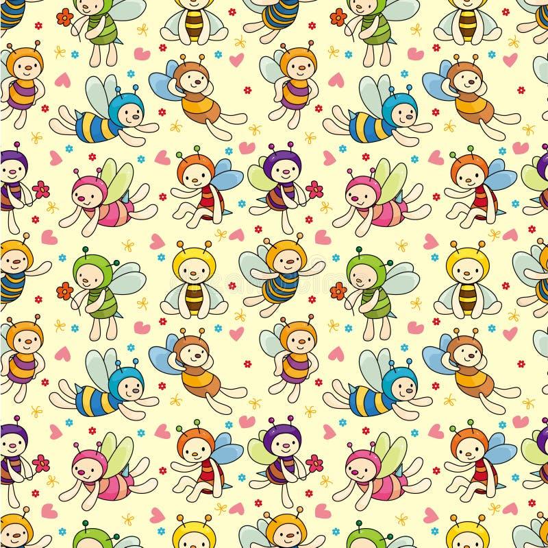 Teste padrão sem emenda do menino da abelha dos desenhos animados ilustração stock