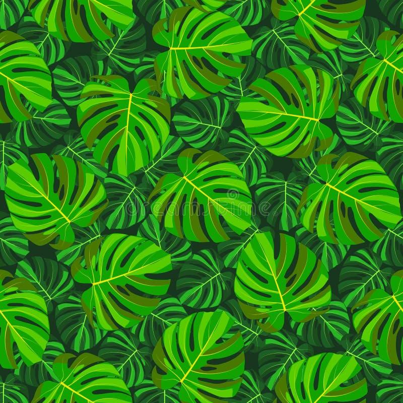 Teste padrão sem emenda do monstera tropical verde da folha, escuro - fundo verde ilustração stock