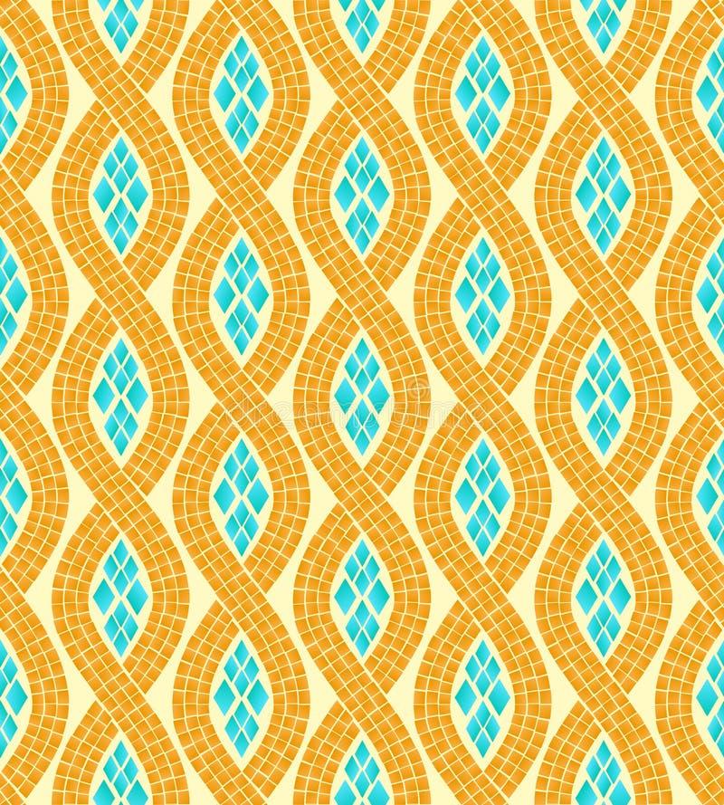 Teste padrão sem emenda do mosaico amarelo e azul da onda, vetor ilustração royalty free