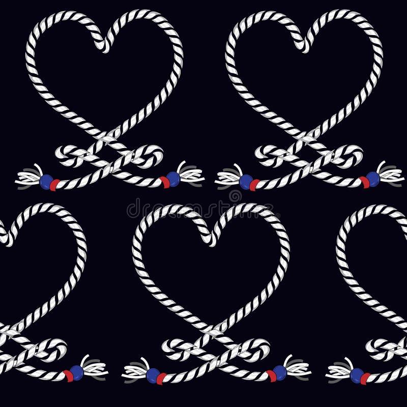 Teste padrão sem emenda do nó marinho da corda Sagacidade infinita da ilustração da marinha ilustração royalty free