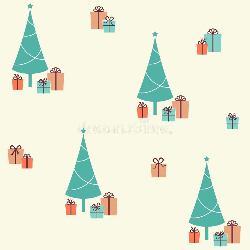 Teste padrão sem emenda do Natal com árvore e presentes de abeto ilustração stock