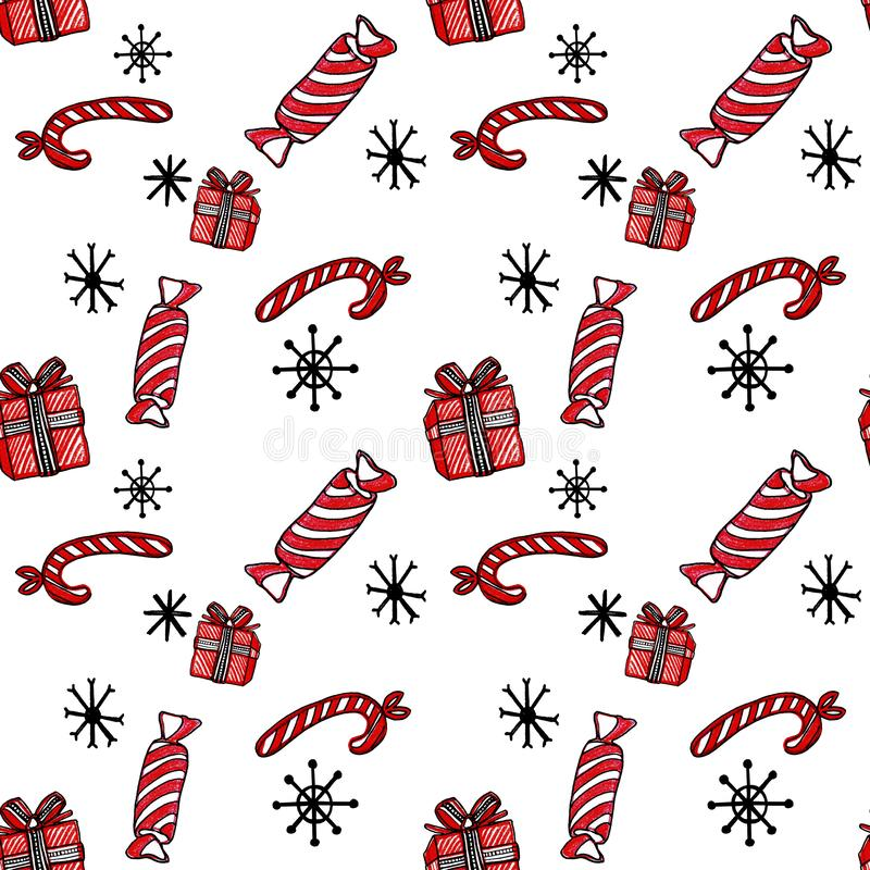 Teste padrão sem emenda do Natal com bastões, presente e flocos de neve de doces no fundo branco ilustração do vetor