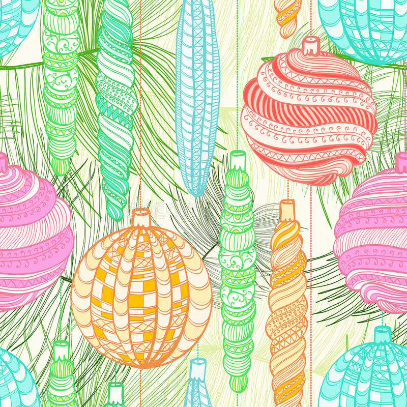 Teste padrão sem emenda do Natal com bolas decorativas ilustração royalty free