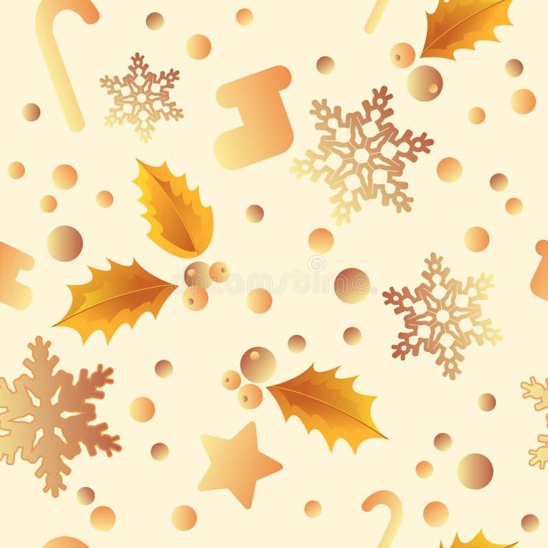 Teste padrão sem emenda do Natal com brilho de flocos de neve e da neve dourados Cart?o do Feliz Natal Flocos de neve efervescent ilustração stock