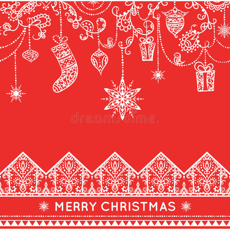 Teste padrão sem emenda do Natal com decoração de suspensão ilustração stock