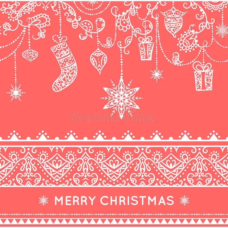 Teste padrão sem emenda do Natal com decoração de suspensão brinquedos, presente, meia, floco de neve, pássaro e beira sem emenda ilustração do vetor