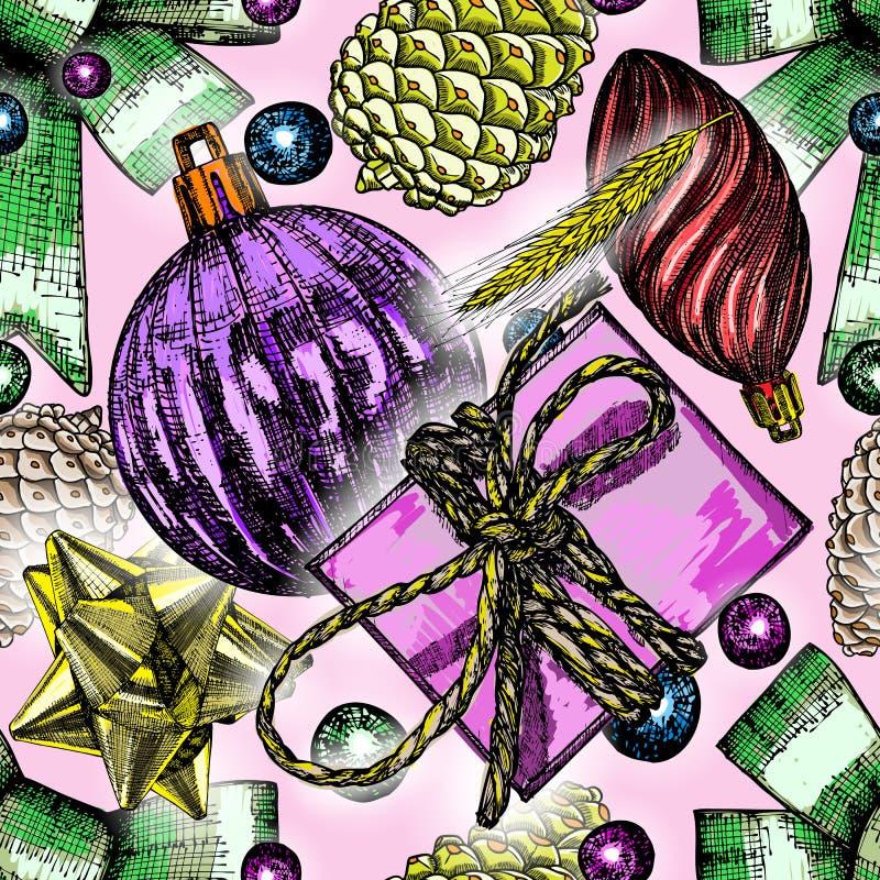 Teste padrão sem emenda do Natal com elementos do feriado e tre vermelhos do abeto ilustração stock