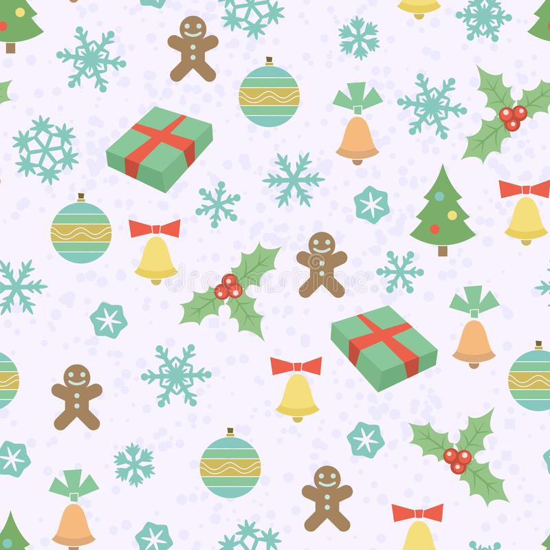 Teste padrão sem emenda do Natal com flocos de neve, homens de pão-de-espécie, árvores de Natal, sinos e uns outros elementos ilustração royalty free