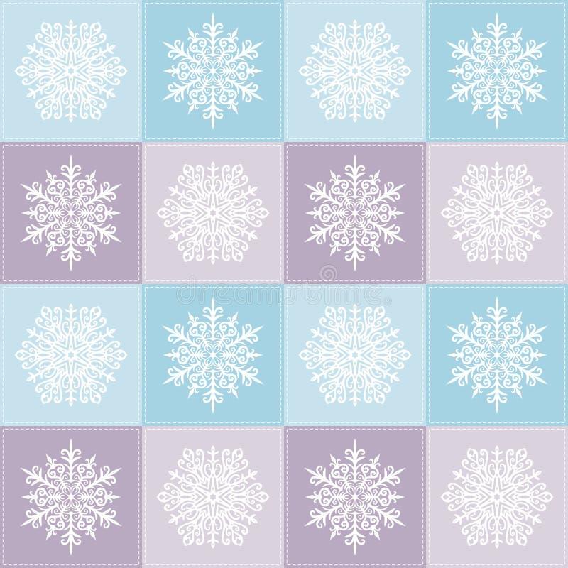 Teste padrão sem emenda do Natal com flocos de neve Motivos dos retalhos Inverno ilustração do vetor