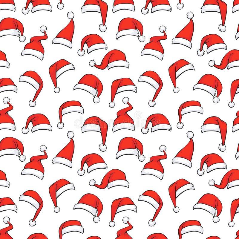 Teste padrão sem emenda do Natal com os chapéus vermelhos tirados mão de Santa ilustração do vetor