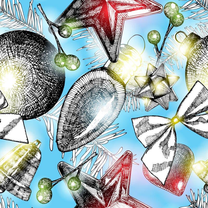 Teste padrão sem emenda do Natal com ramos de árvore do abeto Bagas, pinho ilustração stock