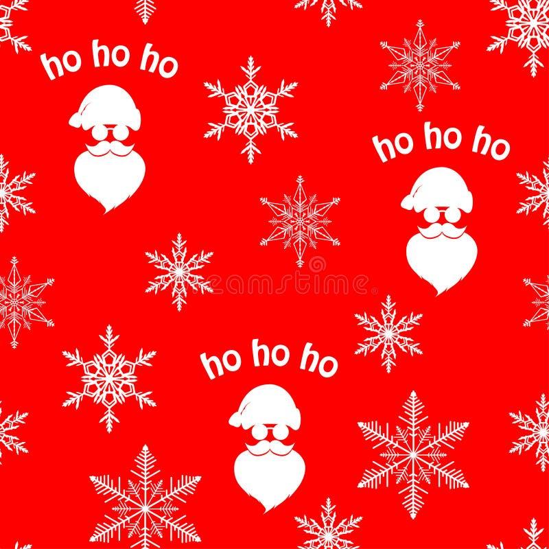 Teste padrão sem emenda do Natal com a silhueta branca de Santa Claus e flocos de neve no fundo vermelho ilustração royalty free