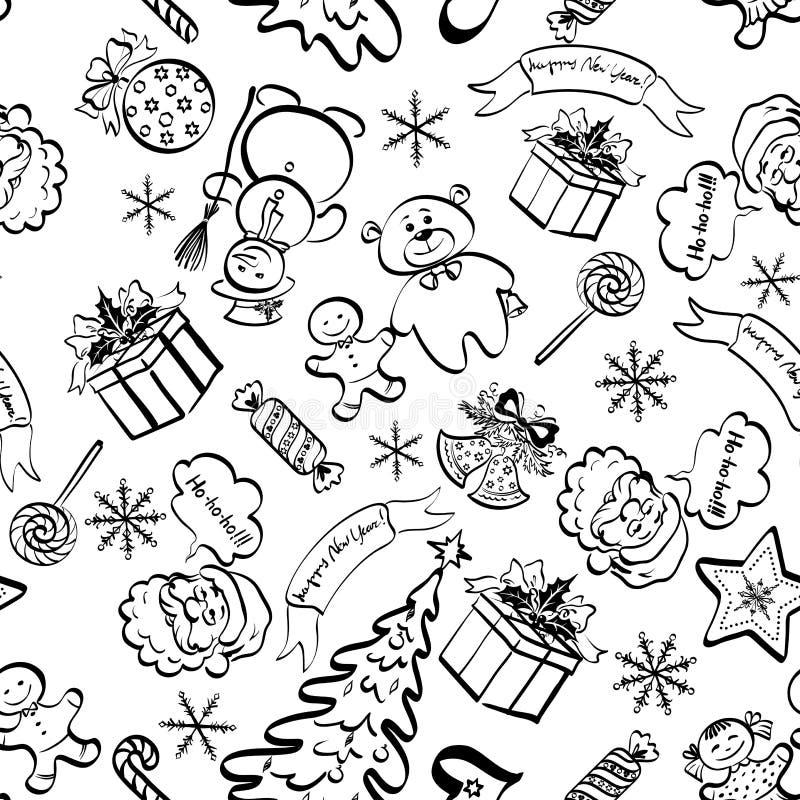 Teste padrão sem emenda do Natal, contorno ilustração royalty free