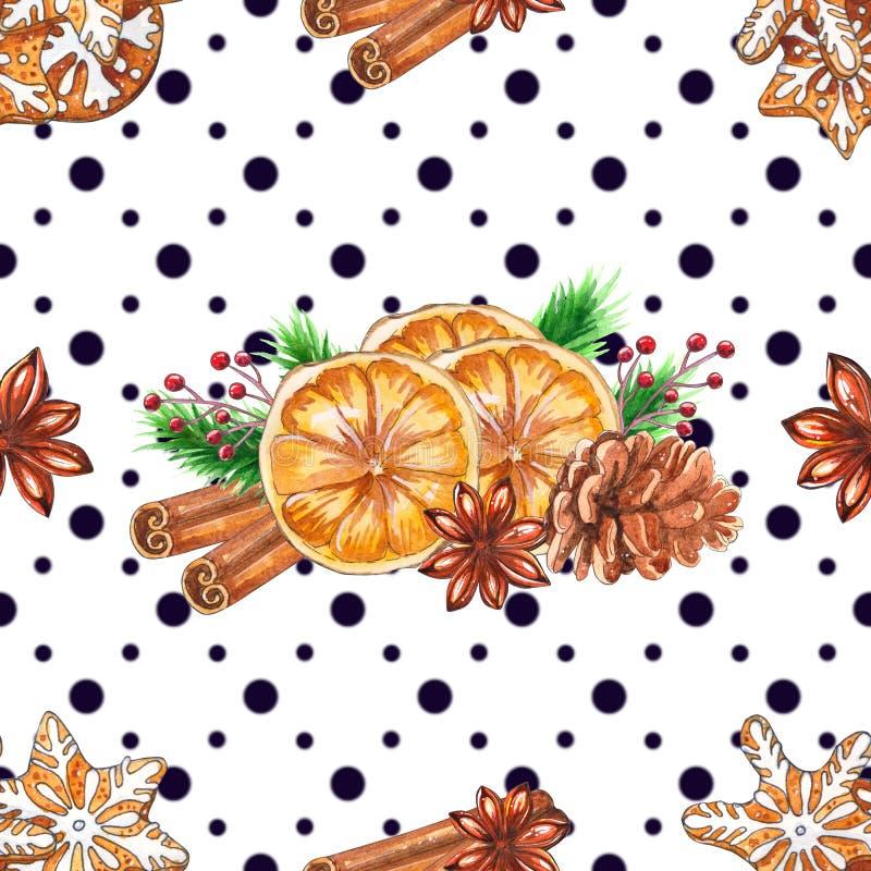 Teste padrão sem emenda do Natal da aquarela com especiarias ilustração do vetor