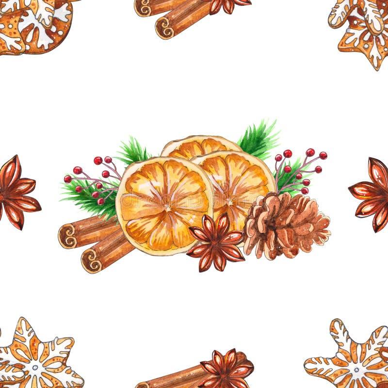Teste padrão sem emenda do Natal da aquarela com especiarias ilustração stock