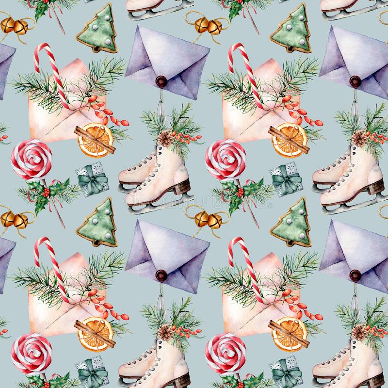 Teste padrão sem emenda do Natal da aquarela com patins Envelopes pintados à mão, cookies, especiarias com ramos do abeto e decor ilustração stock