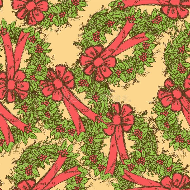 Teste padrão sem emenda do Natal do esboço no estilo do vintage ilustração do vetor