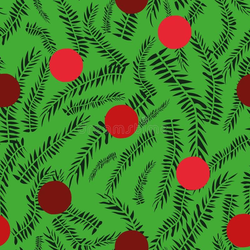 Teste padrão sem emenda do Natal dos às bolinhas do vetor com quinquilharias vermelhas e fundo verde com ramos de árvore ilustração do vetor