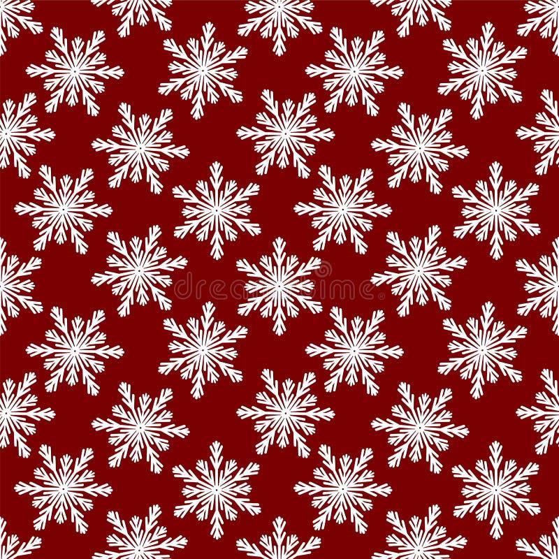 Teste padrão sem emenda do Natal dos flocos de neve brancos no backgrou vermelho ilustração do vetor