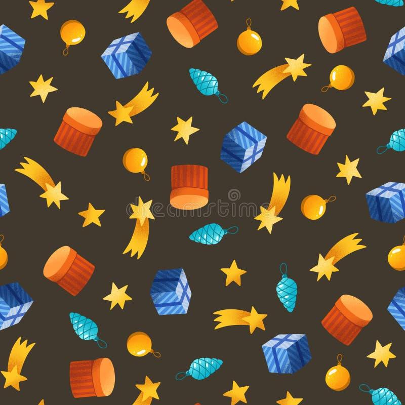 Teste padrão sem emenda do Natal estrelas simples tiradas mão, presentes ilustração royalty free