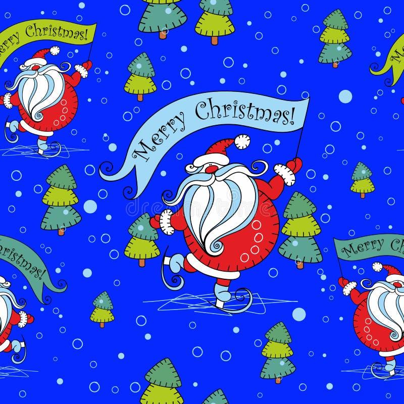 Teste padrão sem emenda do Natal Santa Claus em patins cartoon Árvore de Natal Vetor ilustração royalty free