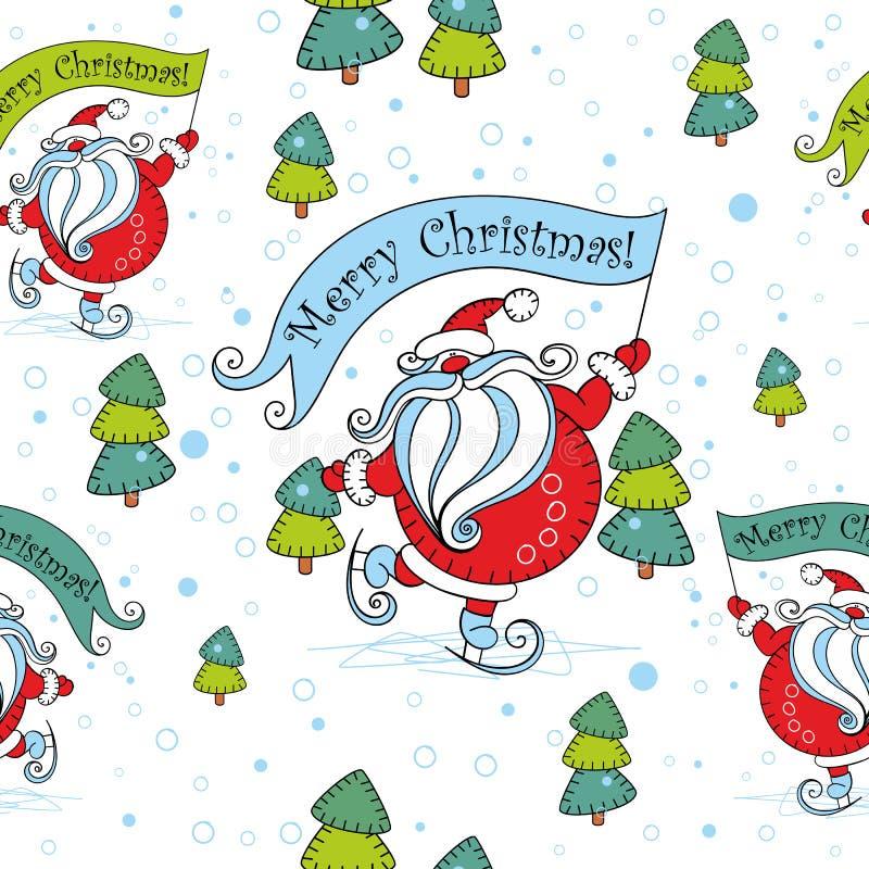 Teste padrão sem emenda do Natal Santa Claus em patins cartoon Árvore de Natal Vetor ilustração do vetor
