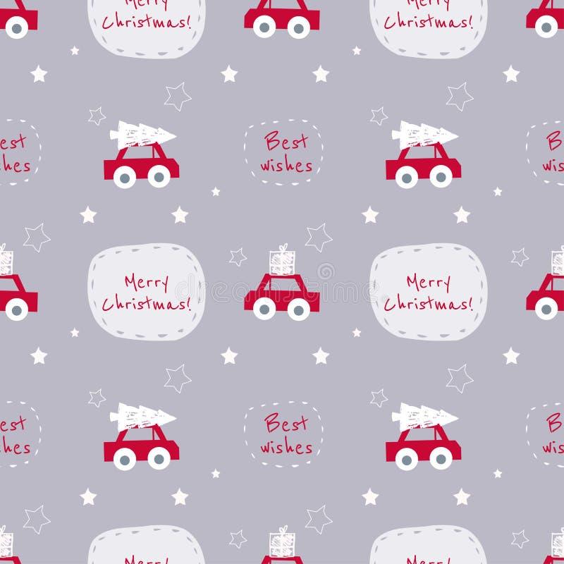 Teste padrão sem emenda do Natal do vetor com carros e texto no gre agradável foto de stock