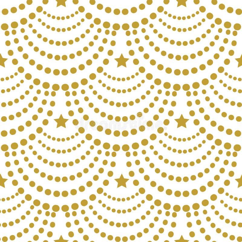 Teste padrão sem emenda do Natal do vetor Festões do ouro com as estrelas no fundo branco ilustração royalty free