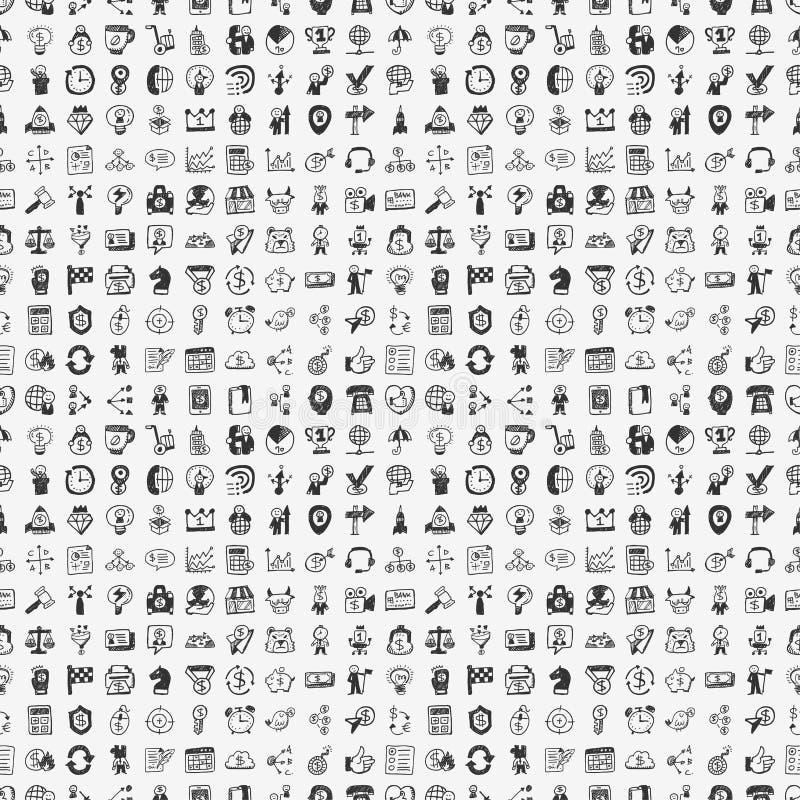 Teste padrão sem emenda do negócio de 100 garatujas ilustração stock