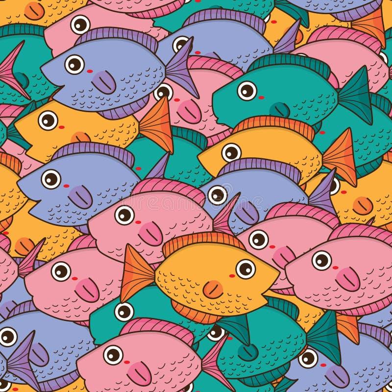 Teste padrão sem emenda do olá! bonito dos peixes ilustração do vetor