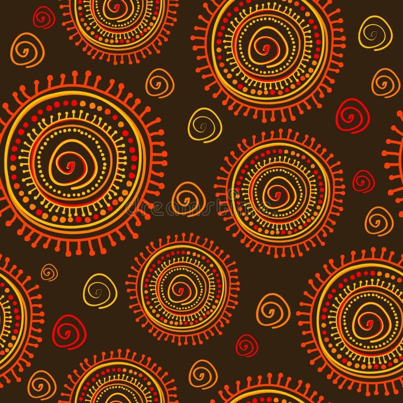 Teste padrão sem emenda do ornamento estilizado tribal do sol ilustração do vetor