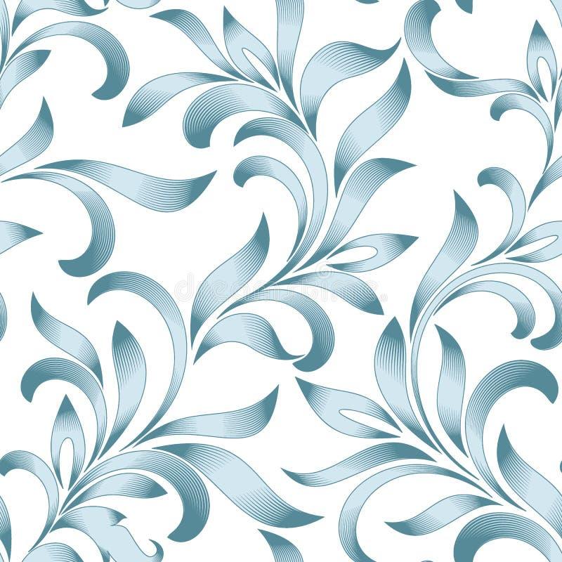 Teste padrão sem emenda do ornamento floral abstrato com folhas onduladas Tracery azul isolado no fundo branco ilustração stock