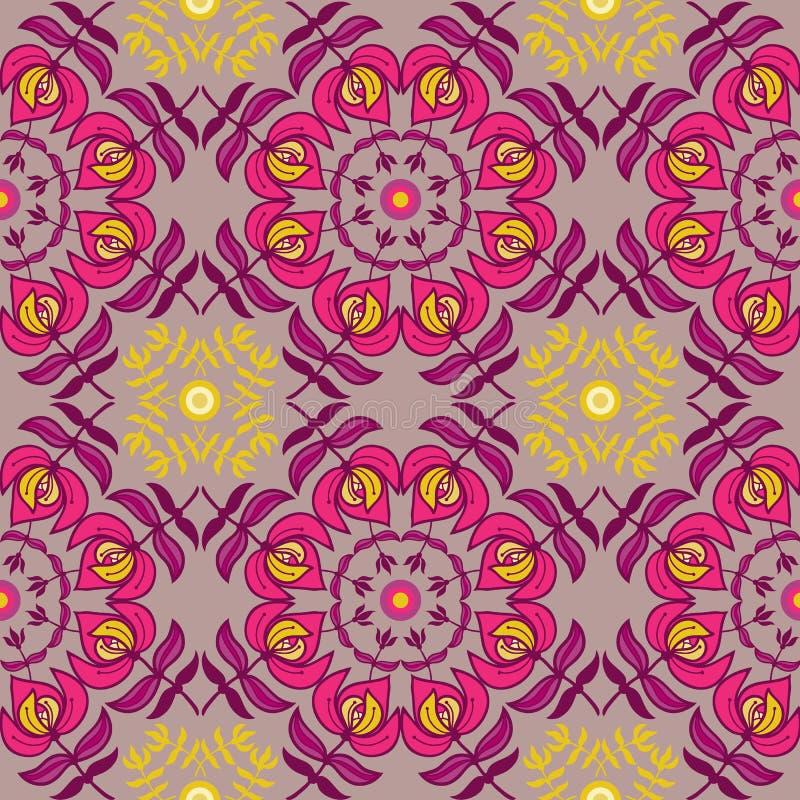 Teste padrão sem emenda do ornamento floral da tração da mão ilustração stock