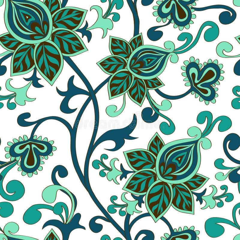 Teste padrão sem emenda do ornamento floral de paisley ilustração stock
