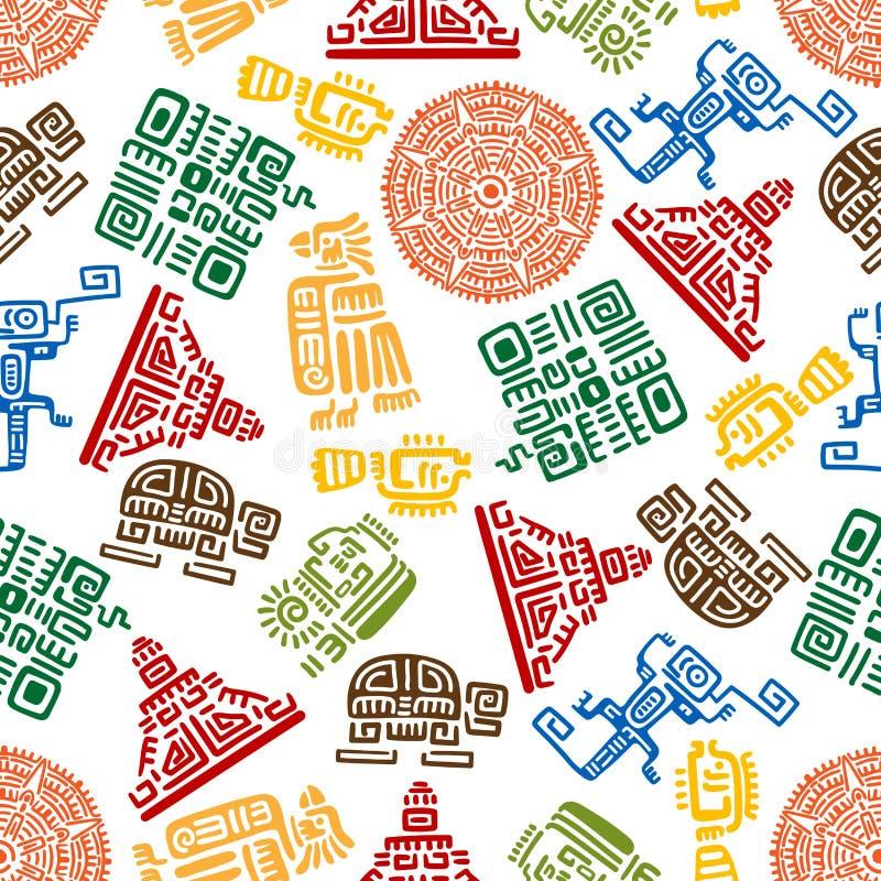 Teste padrão sem emenda do ornamento maia e asteca ilustração stock