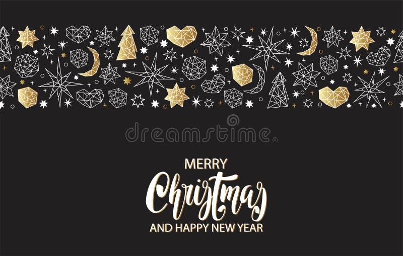Teste padrão sem emenda do ouro do Natal e do ano novo no fundo preto com estrelas, bolas, noel, coração no estilo geométrico ilustração stock