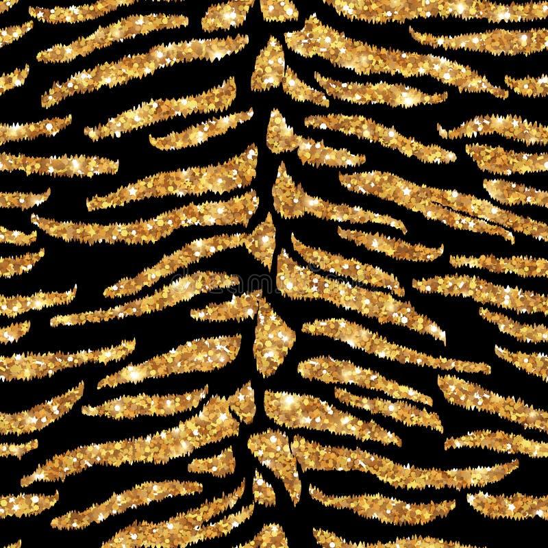 Teste padrão sem emenda do ouro do tigre ilustração royalty free