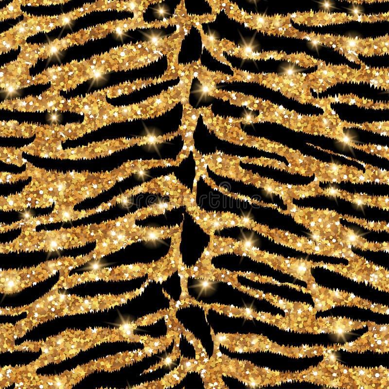 Teste padrão sem emenda do ouro do tigre ilustração stock