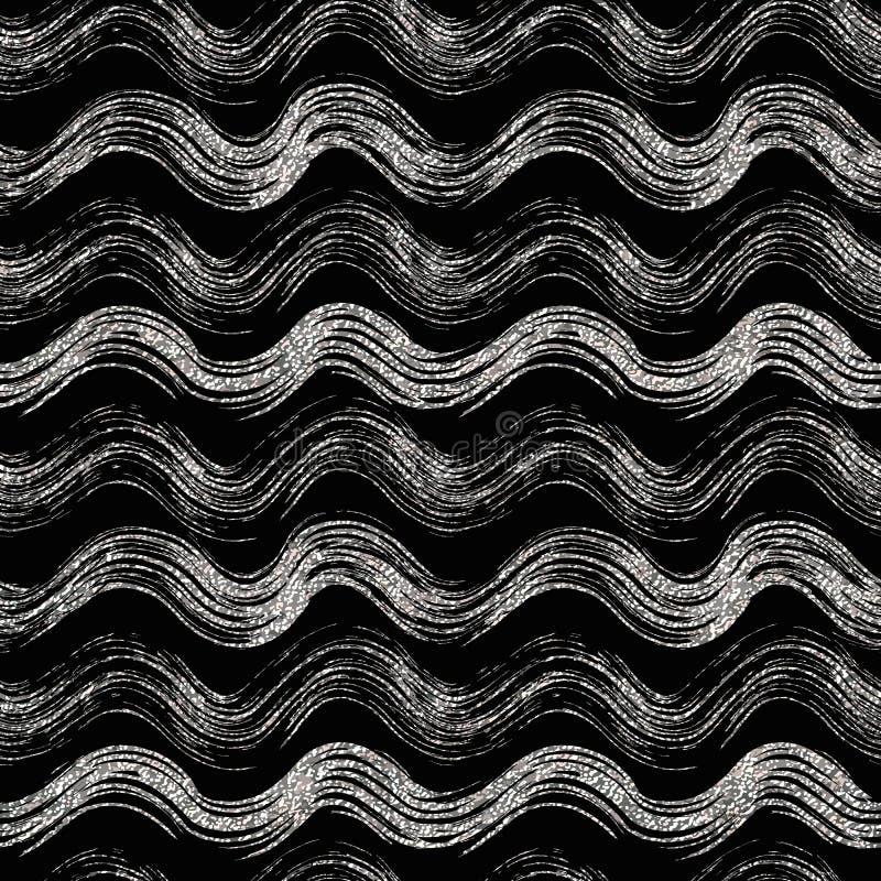 Teste padrão sem emenda do ouro e das listras onduladas de prata ilustração stock