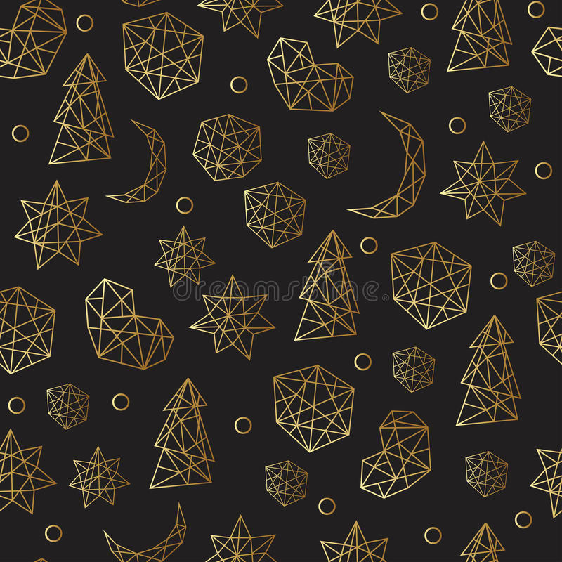 Teste padrão sem emenda do ouro luxuoso do ano novo e do Natal com estrelas, bolas, noel, lua Cartão, convite, inseto ilustração do vetor