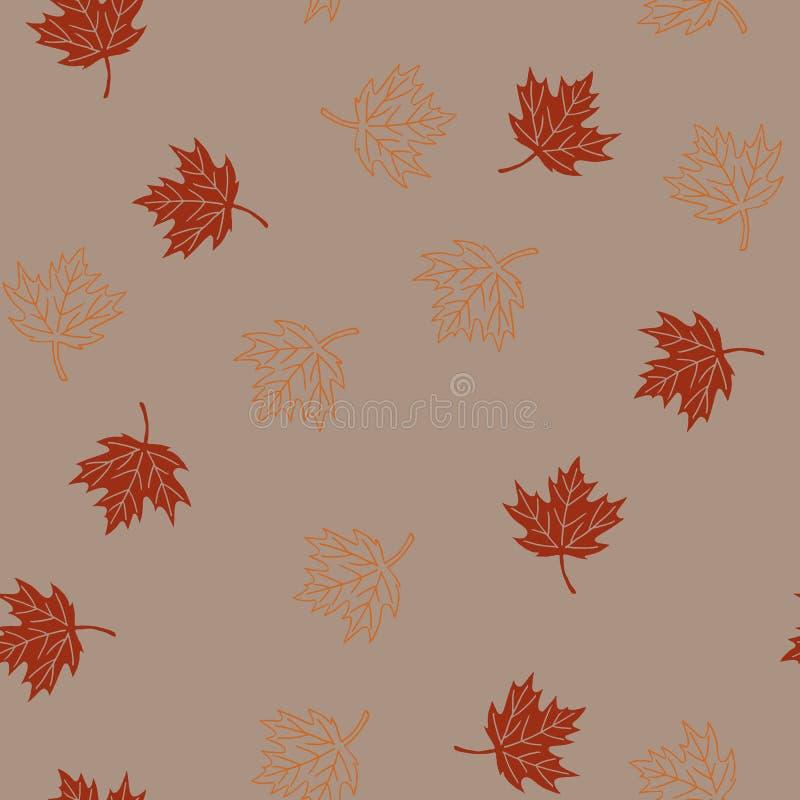 Teste padrão sem emenda do outono com as folhas de bordo vermelhas e alaranjadas no moch ilustração do vetor