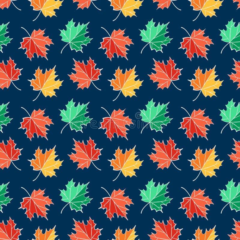 Teste padrão sem emenda do outono com folhas de bordo Fundo do vetor ilustração do vetor